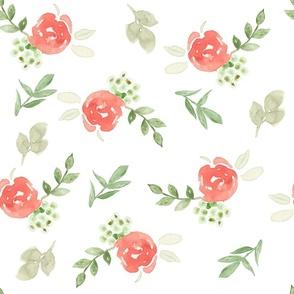 Coral Watercolor Florals Medium