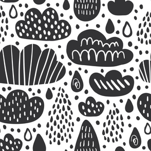 Black and white clouds, rainy drops in scandinavian style