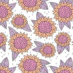 Summer flowers and sunflower garden blossom leaves spring pink lilac girls