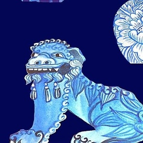 classic blue Chinoiserie Ginger jars and foo dogs