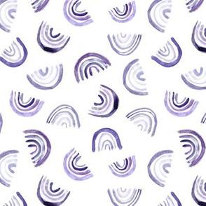 Amethyst tossed rainbows - watercolor purple rainbow