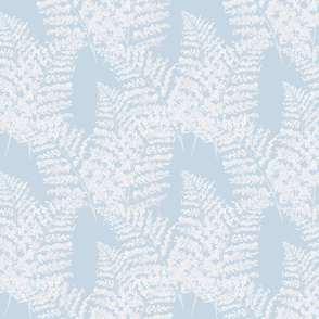 Painterly Ferns, beach house blue and white