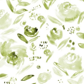 Olive green watercolor florals ★ painted khaki roses for neutral modern home decor, bedding, nursery