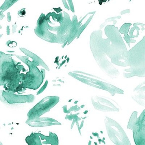 Large scale watercolor flowers - tonal turquoise florals for modern home decor, bedding, nursery