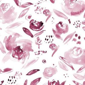 Burgundy tonal flowers ★ watercolor florals for modern home decor, bedding, nursery