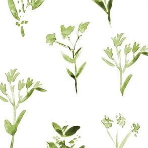 Khaki meadow flowers ★ watercolor tonal green florals for modern home decor, bedding, nursery