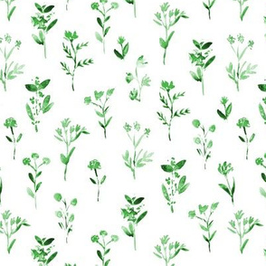 Green meadow flowers ★ watercolor scandi minimal little florals for modern home decor, bedding, nursery