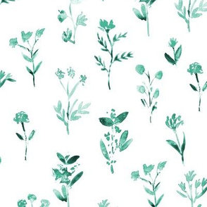 Emerald meadow flowers ★ watercolor tonal florals for modern home decor, bedding