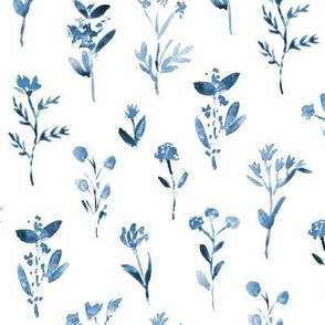 Blue meadow flowers ★ watercolor tonal blue floral for modern home decor, bedding, nursery