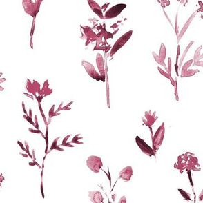 Burgundy meadow flowers ★ watercolor large scale herb florals for modern home decor, bedding, nursery