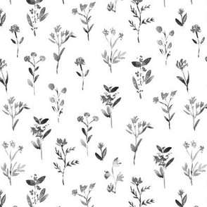 Noir meadow flowers ★ watercolor florals in shades of grey for modern home decor, bedding