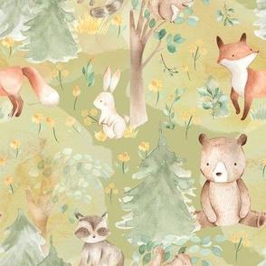 """8"""" Woodland Animals - Baby Animals in Forest- green"""