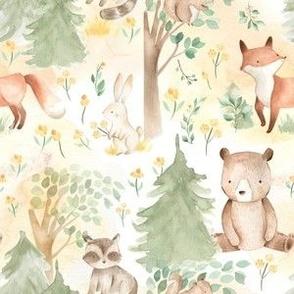 "6"" Woodland Animals - Baby Animals in Forest light background"