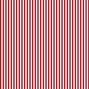 19-16q Cherry Red White Thick Pinstripe