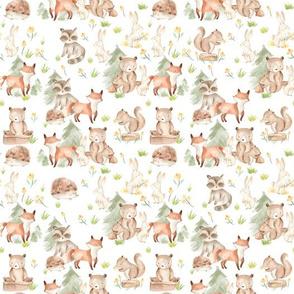 "10"" Woodland Animals - Baby Animals in Forest,woodland nursery fabric,animal nursery fabric,baby animals fabric white"