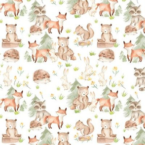 "10"" Woodland Animals - Baby Animals in Forest,woodland nursery fabric,animal nursery fabric,baby animals fabric white"