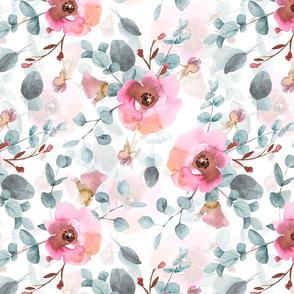 "14"" Australian Flora - hand drawn watercolor Eucalyptus and blush flowers on white"