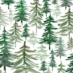 Rustic Forest Trees // White - Woodland, Winter, Christmas, Holidays