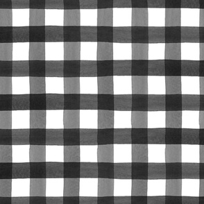 Black Watercolor Buffalo Plaid