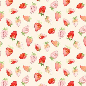 Strawberry Watercolor Off white Ivory Cream