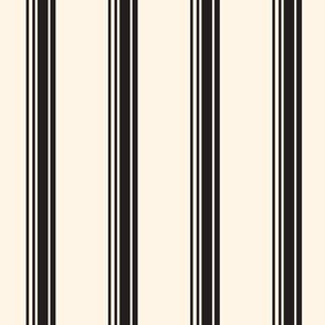 19-16f Jet Black Cream Ivory French Stripe