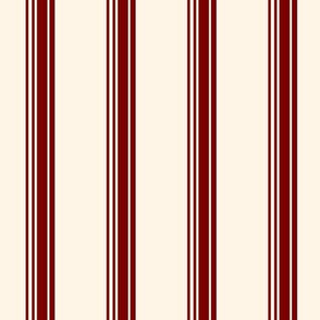 19-16e Wine Red Ivory French Stripe