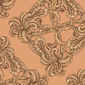 leather lily art nouveau 24x24