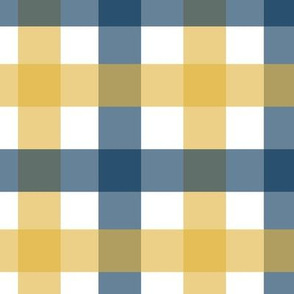 Gingham - Navy and Gold