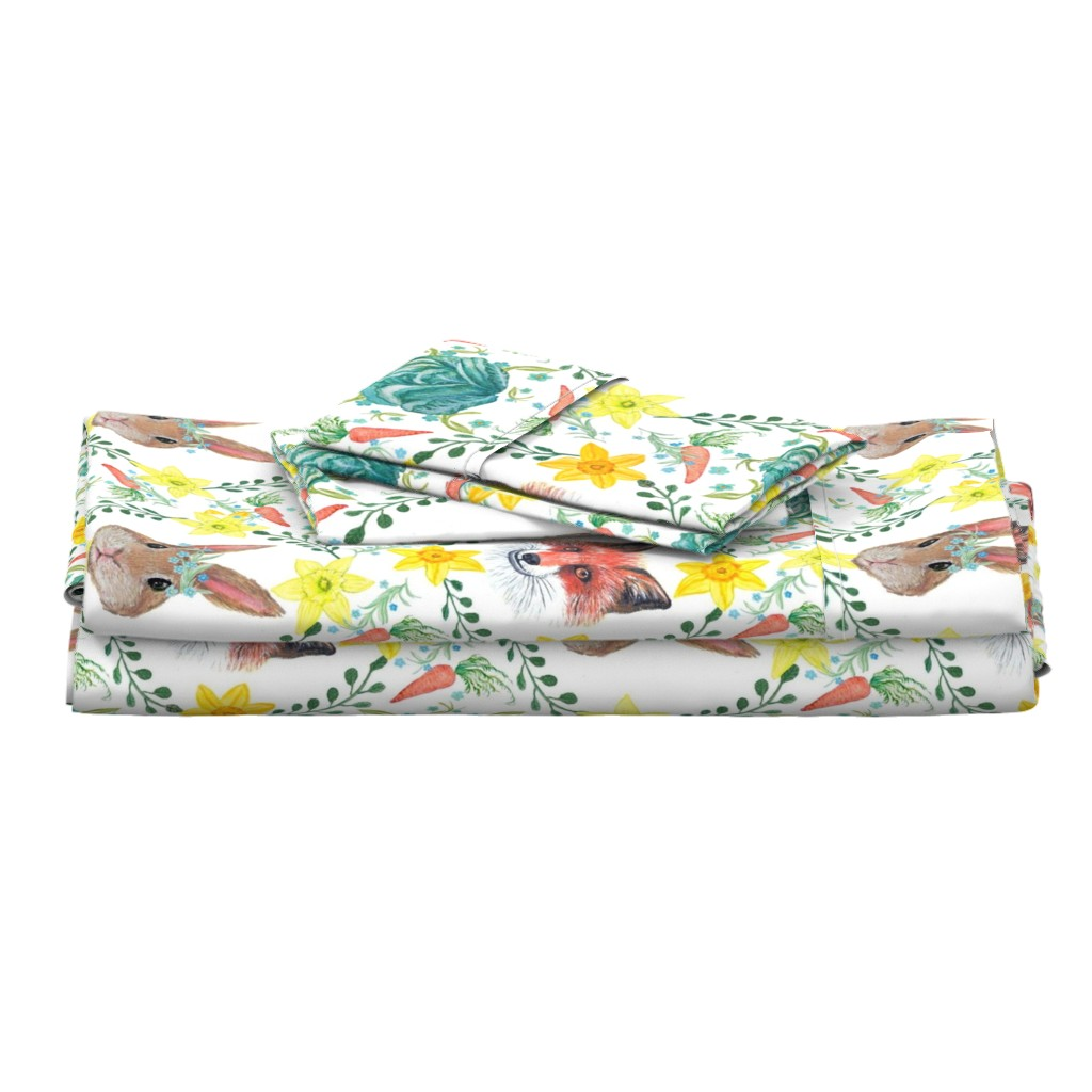 Langshan Full Bed Set featuring  Easter rabbit and fox with daffodils by magentarosedesigns