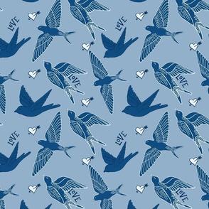 Blue birds,  Swallows /  blue limited palette