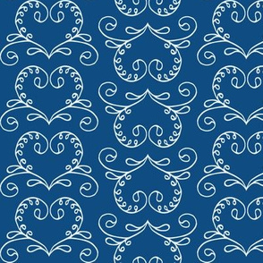 Lily of the Valley Hearts on Classic Blue
