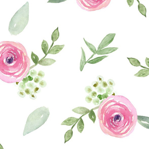 Pink Watercolor Floral Large Repeat