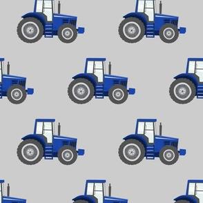blue tractors on grey - farm fabrics - LAD20