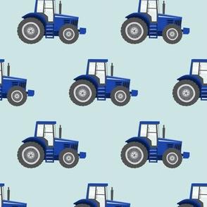 blue tractors on blue - farm fabrics - LAD20