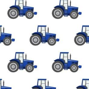 blue tractors on white - farm fabrics - LAD20