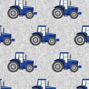blue tractors on grey linen - farm fabrics - LAD20