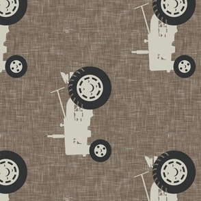 tractors on brown linen - farm life - farm patchwork fabric - browns coordinate (90) C20BS