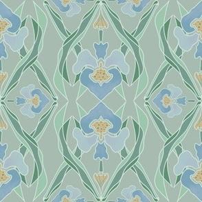 Art Nouveau Blue Iris