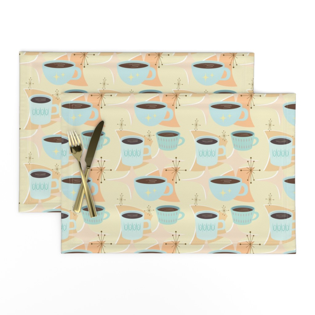 Lamona Cloth Placemats featuring atomic cup o joe by flossiesgrand