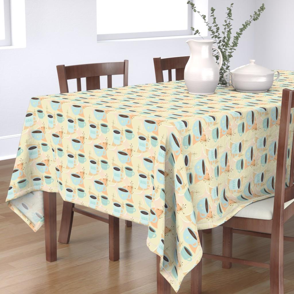 Bantam Rectangular Tablecloth featuring atomic cup o joe by flossiesgrand