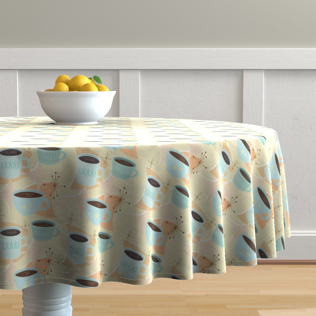 Malay Round Tablecloth featuring atomic cup o joe by flossiesgrand