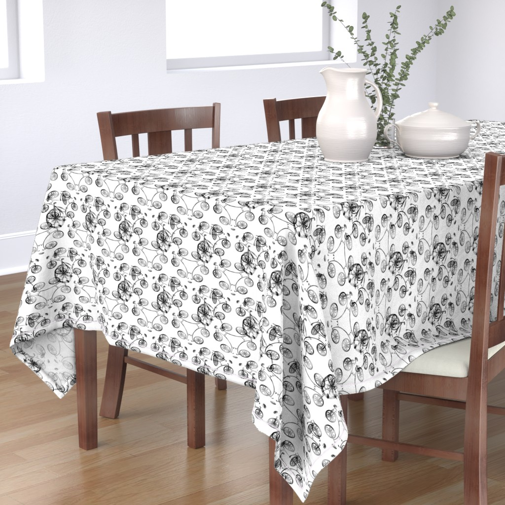 Bantam Rectangular Tablecloth featuring Black Bike 2, L by animotaxis