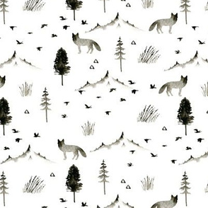 Northern forest. Foxes and birds