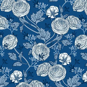 Buttercups In Blues-Large