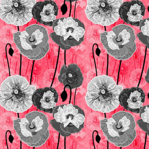 Painterly Poppies (Red)