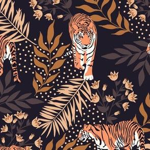 Siberian tiger. Vintage dark purple