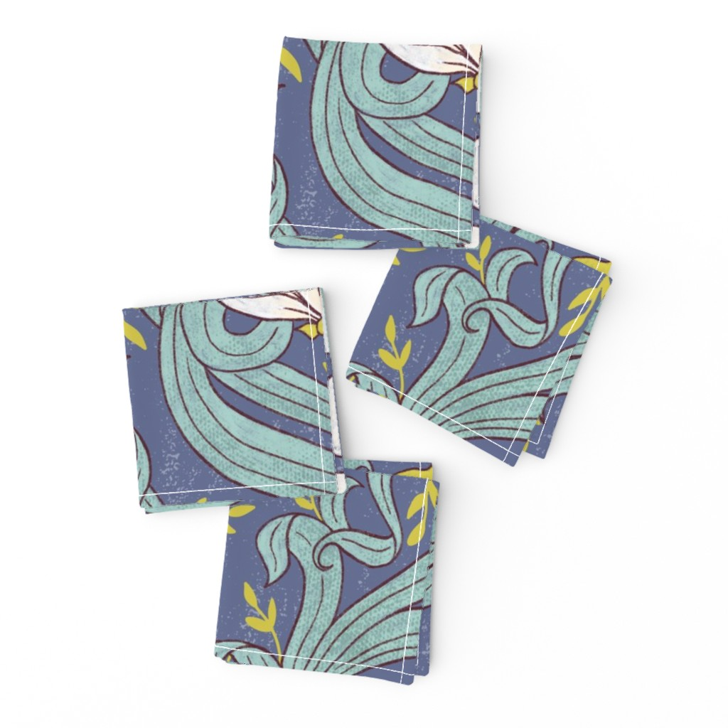 Frizzle Cocktail Napkins featuring Art Nouveau Modern Floral - large scale by red_raspberry_design
