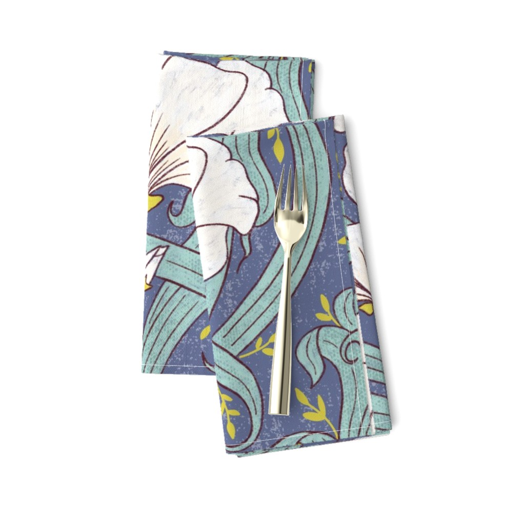 Amarela Dinner Napkins featuring Art Nouveau Modern Floral - large scale by red_raspberry_design