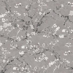 Vincent Van Gogh Almond Blossom Grey Black White