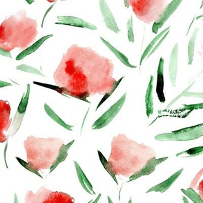 Watercolor cotton flowers ★ painted florals for modern home decor, bedding, nursery